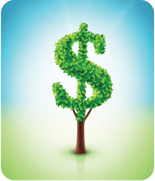 A tree in the shape of the money symbol